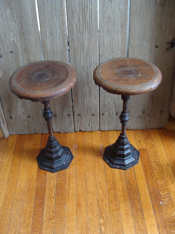 Vintage Cast Iron Stool Wood Soda Fountain Bar Stools