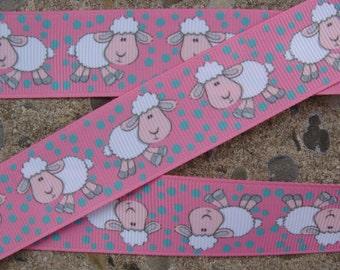 """3 yards White Sheep ribbon Pink Ribbon 1"""" Kids Animal Grosgrain Ribbon Hair Bow Ribbon Hair bow supplies"""