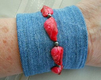 Denim Bracelet with red shell stones and hematite beads, denim cuff, stone wash jeans, upcyled vintage jewelry, bangle  151