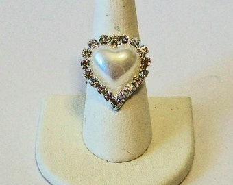 Elegant Pearl and Rhinestone Heart Shape Fashion Ring Adjustable Band