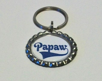 Royal Blue and White Papaw Grandfather Metal Flattened Bottlecap Keychain Great Gift