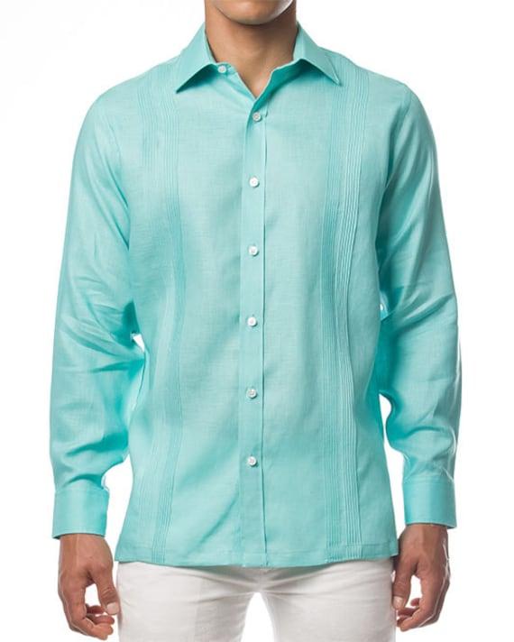 Mens Mint Long Sleeve Linen Yacht Party Luxury Shirt Guayabera