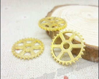 10pcs 20mm gold gear Charms Connectors