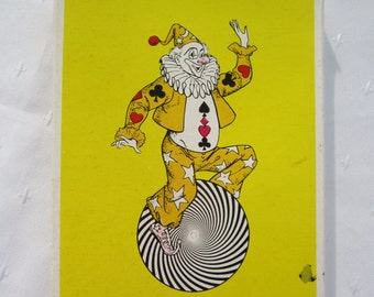 Jumbo Playing Cards Plastic Coated Clown Box Paper Ephemera Vintage Cards