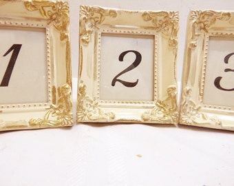 3 Ivory Ornate Wedding Frames Table Numbers Victorian Shabby Vintage Wedding You Pick Color