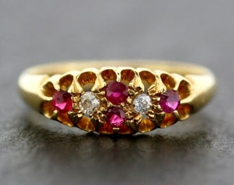 Antique Ruby Ring - Edwardian Ruby & Diamond 18ct Gold Antique Cluster Ring