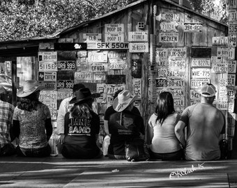 Luckenbach Afternoon Fine Art Photography Texas Traditions Music Black and White Country Western Live Singer Songwriters Cowboy hats cool
