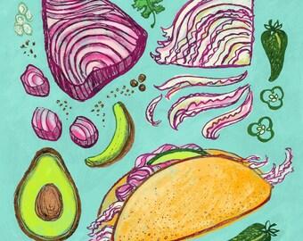 Tuna Taco Art Print, 8 x 10, Illustration, Ink Drawing, Kitchen Art