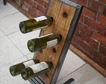 Wine rack floorstanding in wood & metal industrial chic beautiful handmade item
