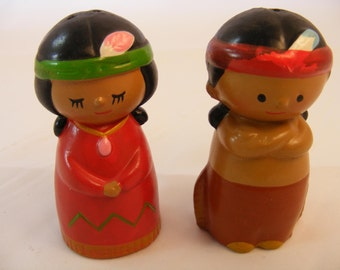 Vintage Native American Indian Boy and Girl Salt and Pepper Shakers, Indian and Squaw S&P Shakers, Hand Made in Korea