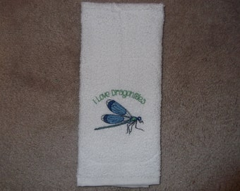 Embroidered ~I Love DRAGONFLIES~ Kitchen Bath Hand Towel