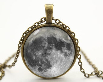 full moon necklace moon necklace pendant- with free jewelry box