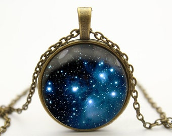 nebula necklace galaxies necklace pendant space jewelry- with free jewelry box