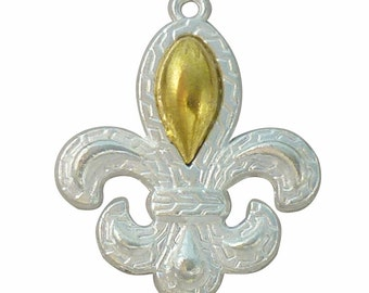 5 pcs - Silver Fleur De Lis Charm with Gold Tone Accent 34x28mm - Ships from Texas - SP0053