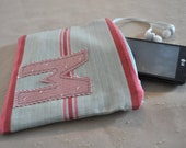 Pink and Blue Striped Monogrammed M Zipper Pouch