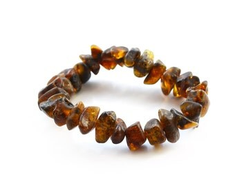 Amber raw bracelet Brown unpolished Healing Baltic amber 14,7 grams (0,49 oz) Women Men Gift Amber bracelet 1349/1