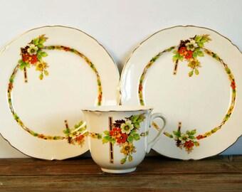 Vintage B Midwinter Porcelon Burslem England Floral Decor Cup and two side plates.1946-1953 post-Second World War mark