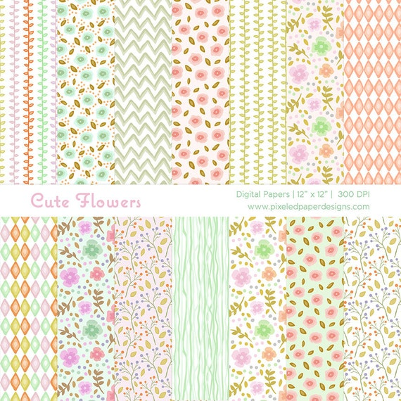 Cute Spring Flower Digital Paper Pack - Digital Background for Scrapbook, Cards, Photography, Invites etc | Commercial License Available