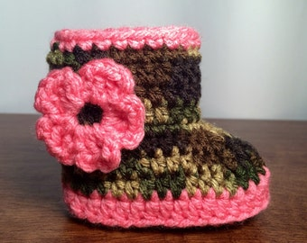 Camouflage and Pink Bootie