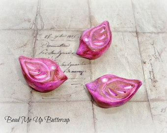 Bronzed Lilac Pink Polymer Clay Birds