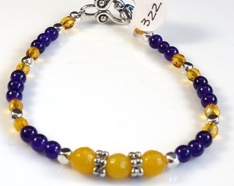 Women's Purple and Gold Beaded Bracelet