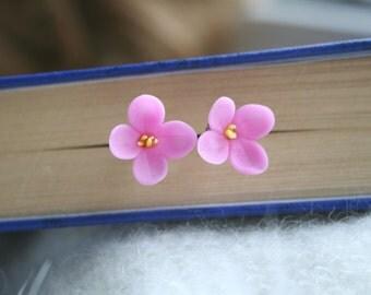 Flower post earrings - polymer clay flower earrings - flower jewelry - floral jewelry - flower earrings - lilac jewelry - pink earring