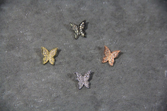 CZ Micro Pave 10mm Butterfly  Beads