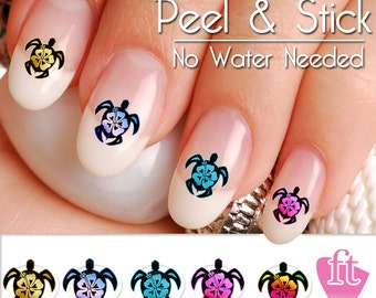 Turtle Sea Turtle Hibiscus Flower Nail Art Decal Sticker Set TUR901