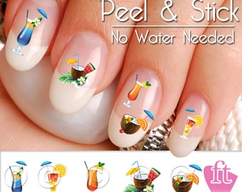 Summer Drink Nail Art Decal Sticker Set SUM903 - Summer Drink Mix - Tropical Nail Art