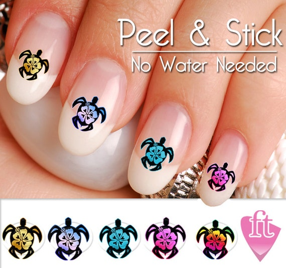 Like this item? - Turtle Sea Turtle Hibiscus Flower Nail Art Decal Sticker Set
