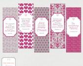 Love Printable Bookmarks Set of 5 - Teacher gift, Encouragement, Valentine, Love, Bible, Scripture, Raspberry Set 2, INSTANT DOWNLOAD