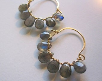Mysterious Labradorite Basket Hoop Earrings