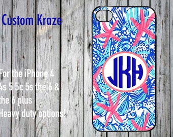 iPhone 4 4s 5 5c 5s 6 plus case Lilly Pulitzer inspired Starfish monogram coral blue ships in 1 business day