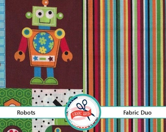 ROBOTS Fabric by the Yard, Half Yard, Fat Quarter BUNDLE GEARHEADS Fabric Red Blue Green 100% Cotton Fabric Quilting Fabric Apparel Fabric