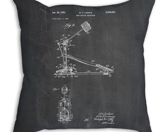 Drum Kick Patent Pillow, Bass Pedal, Drummer Gift, Drum Patent, Percussion, Music Room Decor, Music Teacher Gift PP0104
