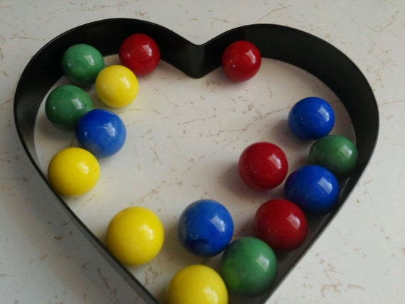 Solid Color Marbles : Vintage marbles solid colors in red blue yellow and
