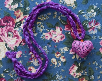 Pink Embroidered Heart Pendant on Purple Sari Silk Necklace