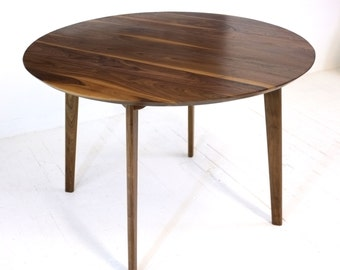 """Round Dining Table, Mid Century Modern Dining Table,  Solid Walnut Dining, Modern Round Dining  Table, """"The Isabelle"""""""