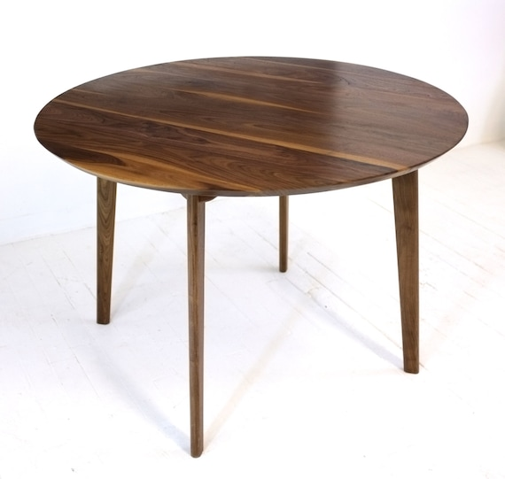 mid century modern round dining table cafe table solid walnut