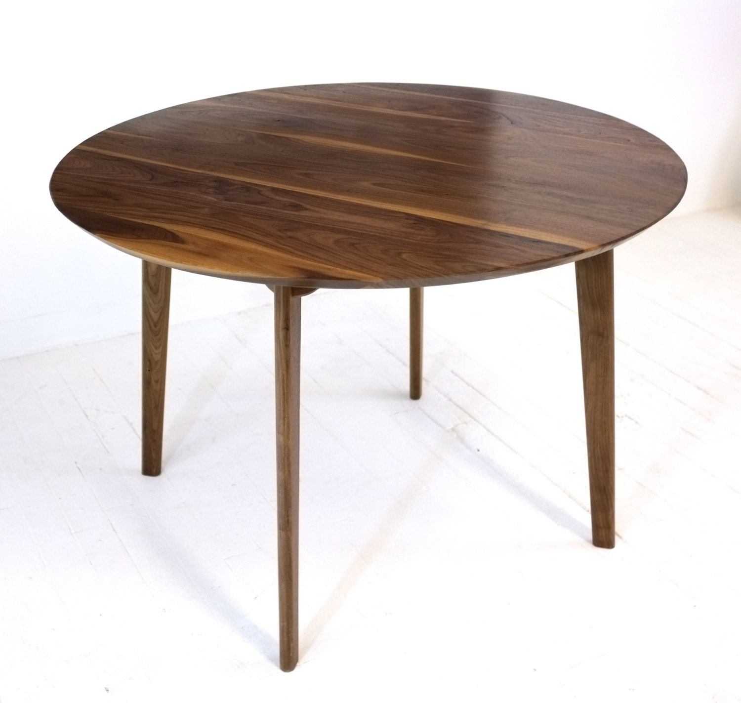 mid century modern round dining table cafe table solid. Black Bedroom Furniture Sets. Home Design Ideas
