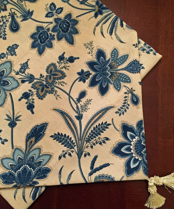 Blue Floral Seaside Home Decor Fabric By Creativeglassbysusan