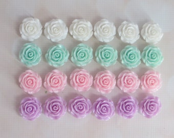 Pretty Resin Roses Beads-30mm-Set of 4-Supplies-DIY-Necklaces-Cake Roses-Pastels-PINK