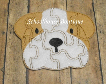 Felt Bulldog Dog Learning Puzzle and Matching Mat/Pouch-Logic Thinking Game - Easter Basket Filler - Learning Aid - Soft Game - Sensory Toy