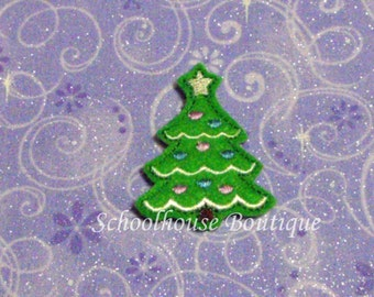 Christmas Tree felties, feltie, machine embroidered, felt applique, felt embellishment, hair bow supplies, felt planner clip,felt paper clip