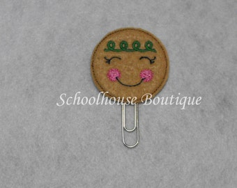 Green and Pink Gingerbread Cookie felt paperclip bookmark, felt bookmark, paperclip bookmark, feltie paperclip, christmas gift, teacher gift