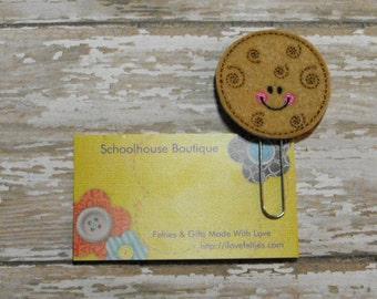 Swirl Cookie felt paperclip bookmark, felt bookmark, paperclip bookmark, feltie paperclip, christmas gift, teacher gift