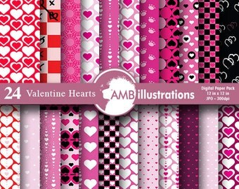 80%OFF Heart digital papers, Valentine digital papers, valentine papers, commercial use, scrapbook, backgrounds, AMB-323