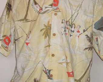 Vintage Hawaiian Print BIG MAN'S Shirt 90's Tropical Cream with Bikini Clad Girls on Tropical Beaches-Short Sleeve Large Shirt