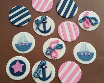 Set of 12 Nautical Themed Cupcake Toppers! Girl Baby Shower