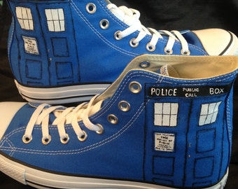 Police Call Box Hand Painted Converse Shoes